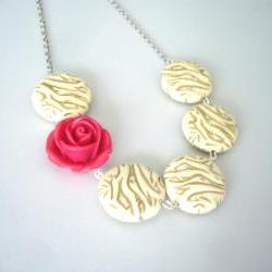 rose and beige necklace