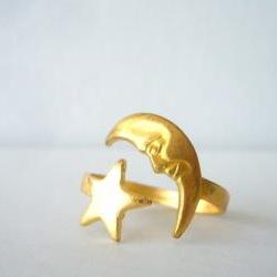  brass moon ring with a star. wrap style open ring