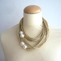 Gold and white pearls necklace in metallic new Fall Winter jewelry